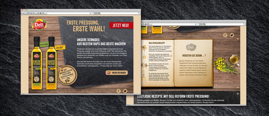 Das Deli Reform Webspecial zur Produkteinführung der Rapskernöle Erste Pressung