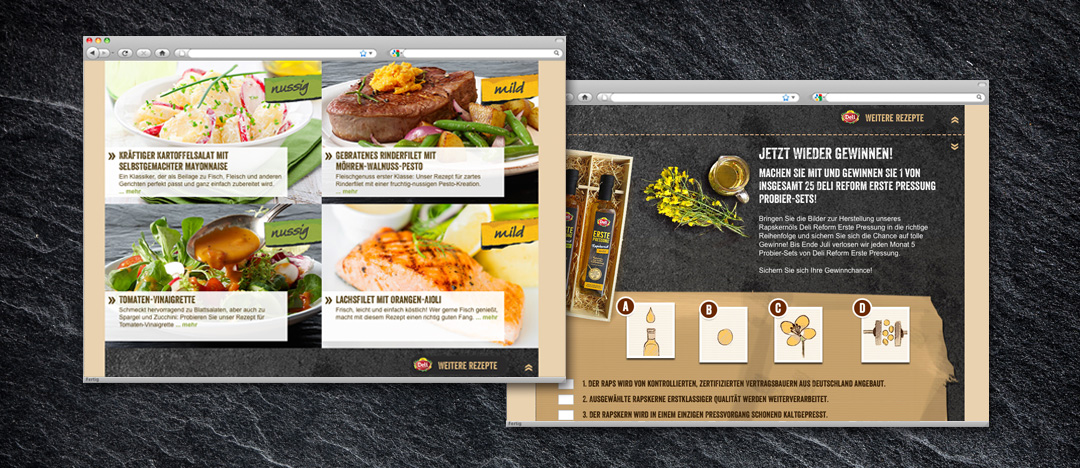 Rezepte und Gewinnspiel für Produkttester des Deli Reform Webspecials der Rapskernöle Erste Pressung