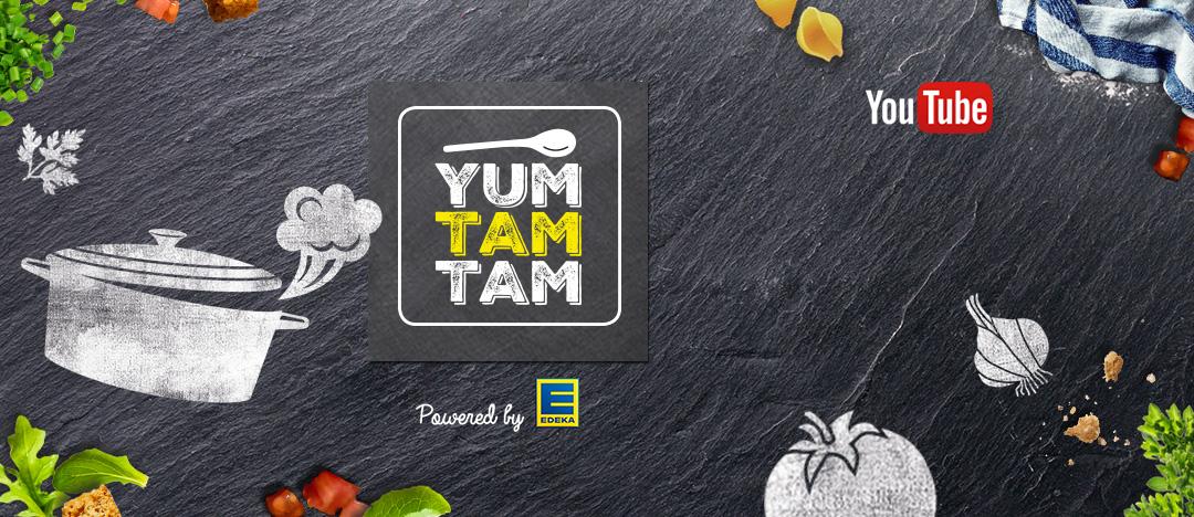 Logo und Gestaltungselemente der Website von yumtamtam, dem Kochkanal von EDEKA