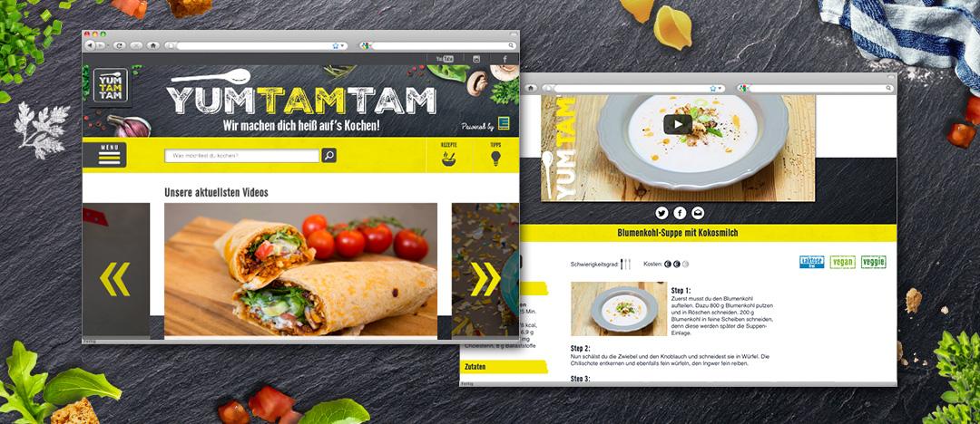 Screenshots der Video-Auswahl und einer Rezept-Detailseite der EDEKA yumtamtam Website