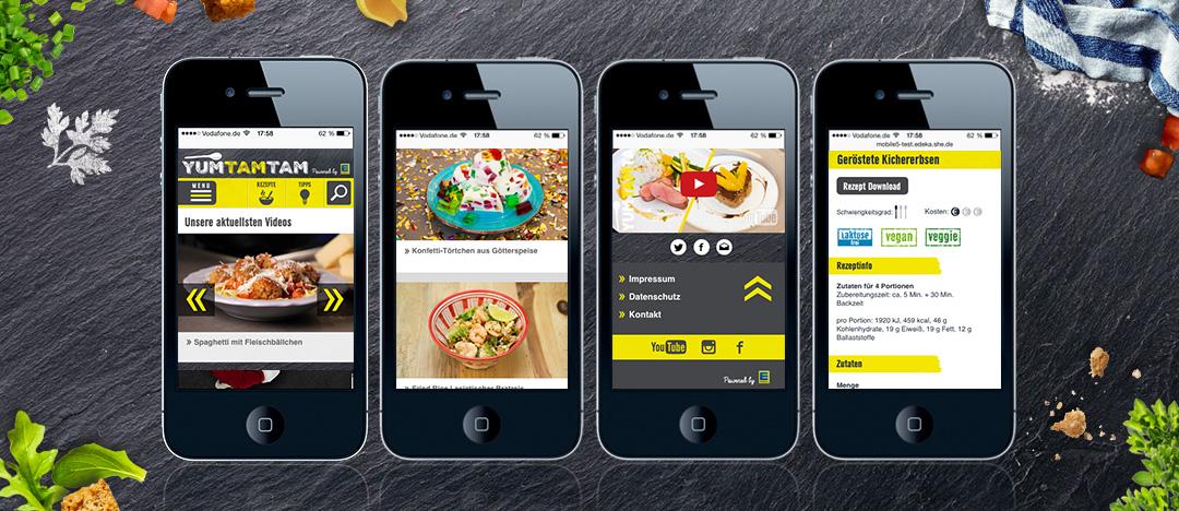 Verschiedene Detailseiten der EDEKA yumtamtam Website auf dem Display eines Smartphones