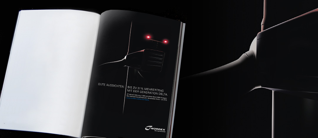 """Teaser-Anzeige in Fachzeitschrift zur Multi-Megawatt Windkraftanlagen-Generation """"Delta"""" von Nordex"""