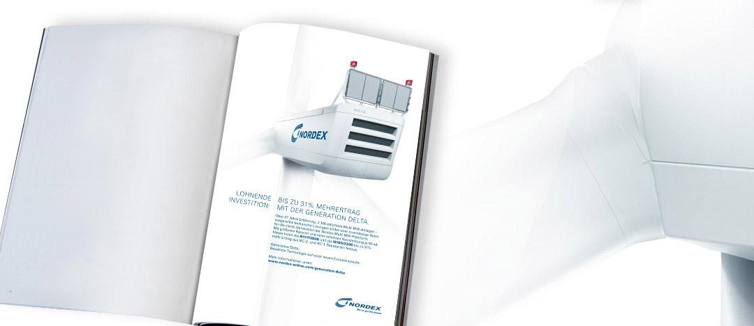 """Follow-Up Anzeige mit detaillierten Informationen zur Multi-Megawatt Windkraftanlagen-Generation """"Delta"""" von Nordex"""