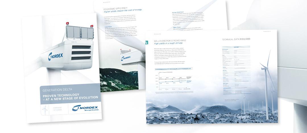"""Cover und Detailseiten der Info-Broschüre zur Multi-Megawatt Windkraftanlagen-Generation """"Delta"""" von Nordex"""