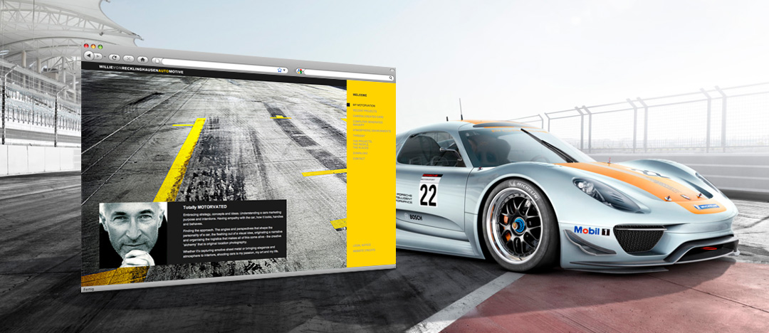 Homepage of the new website from automobile photographer Willie von Recklinghausen