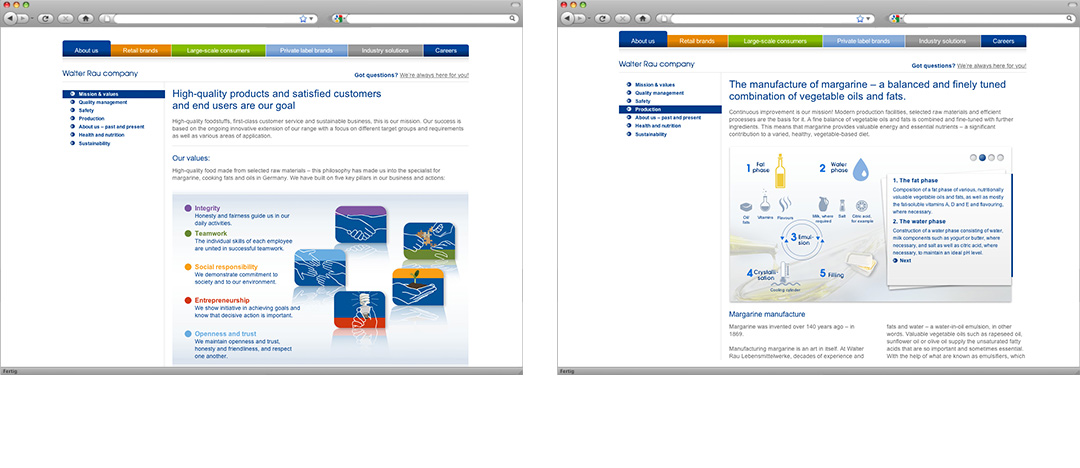 Two examples of different page types of the new corporate website from Walter Rau