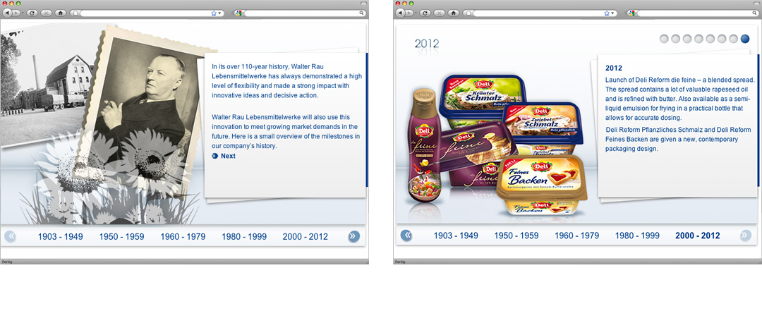 Examples of the history- an the product-page of the walter rau corporate website after the relaunch in 2013