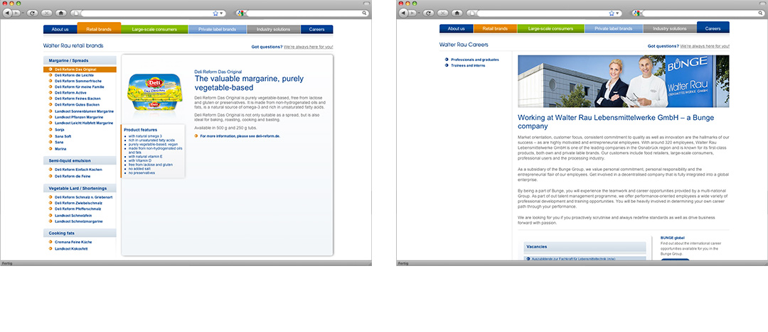A product-detail-page and a subpage with informations about the Walter Rau company