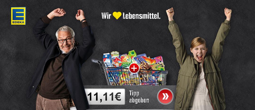 Key-Visual jubelnder Mann und junge Frau mit Einkaufswagen und GUT und GÜNSTIG Produkten vom EDEKA Eigenmarken Webspecial mit Gewinnverlosung