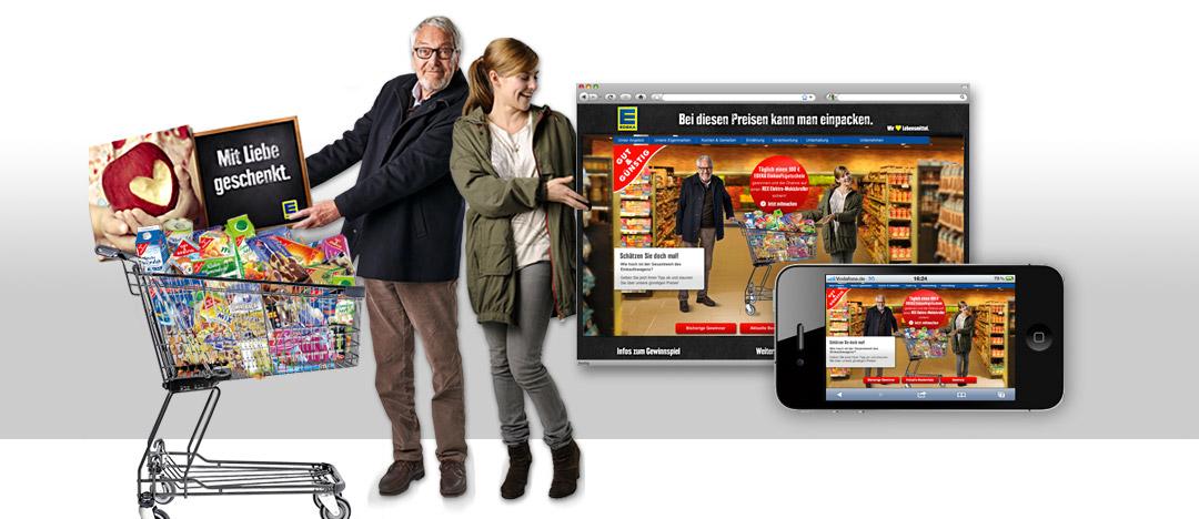 Die Protagonisten des EDEKA Eigenmarken Webspecials mit GUT und GÜNSTIG Produkten im Einkaufswagen und Darstellung der Umsetzung auf Desktop und Smartphone