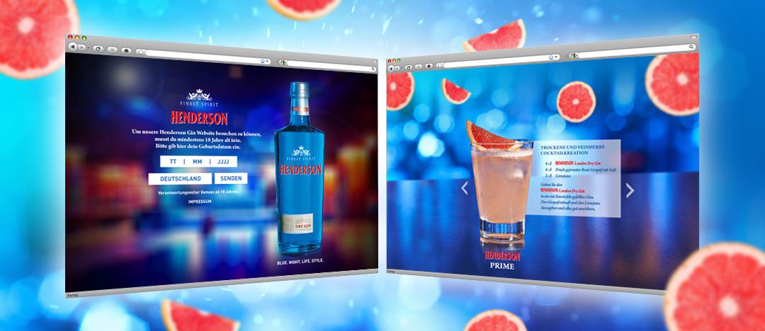 Die Vorschaltseite mit Altersabfrage und ein Cocktailrezept der Website von EDEKA Henderson Gin