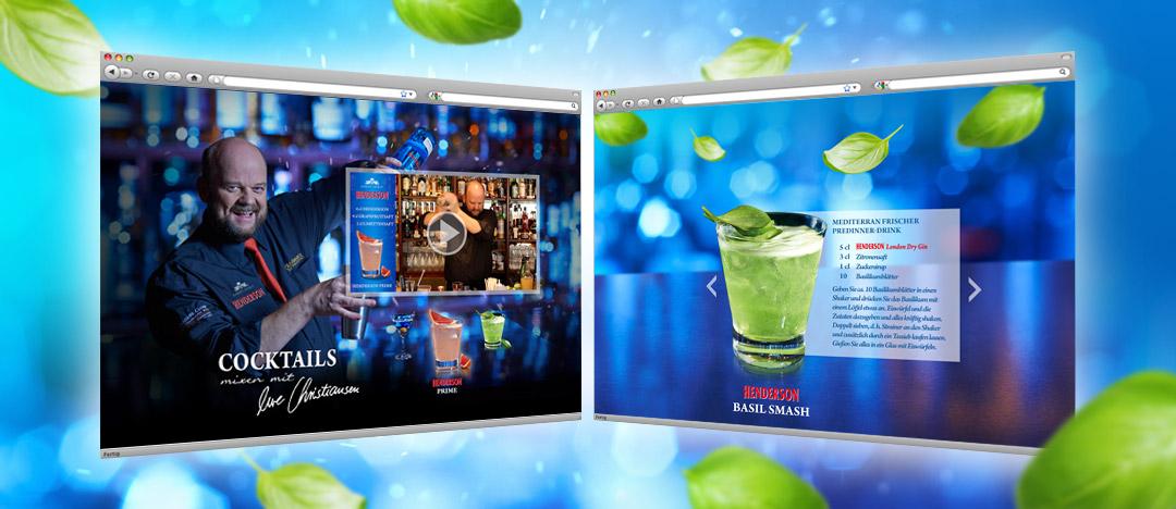 Video mit Tipps von Barkeeper Uwe Christiansen und Cocktailrezept auf der Website von EDEKA Henderson Gin