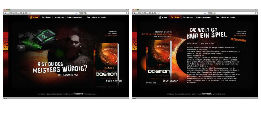 """Landingpage zur Online-Promotion des Thrillers """"Daemon"""" von Daniel Suarez mit allen Informationen zur Neuerscheinung"""