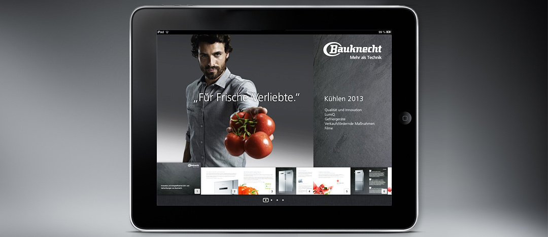 The iBook Version of the Bauknecht Sales folder, showing the testimonial of the advertising-campaign in 2012 The Bauknecht Guy
