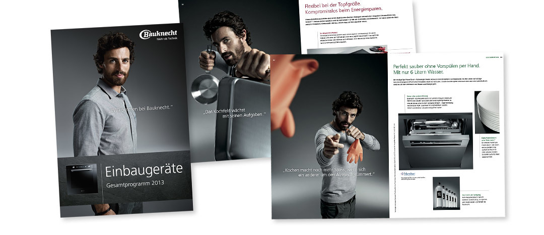 product brochures with pictures of the Bauknecht Guy, the testimonial for the campaign in 2012