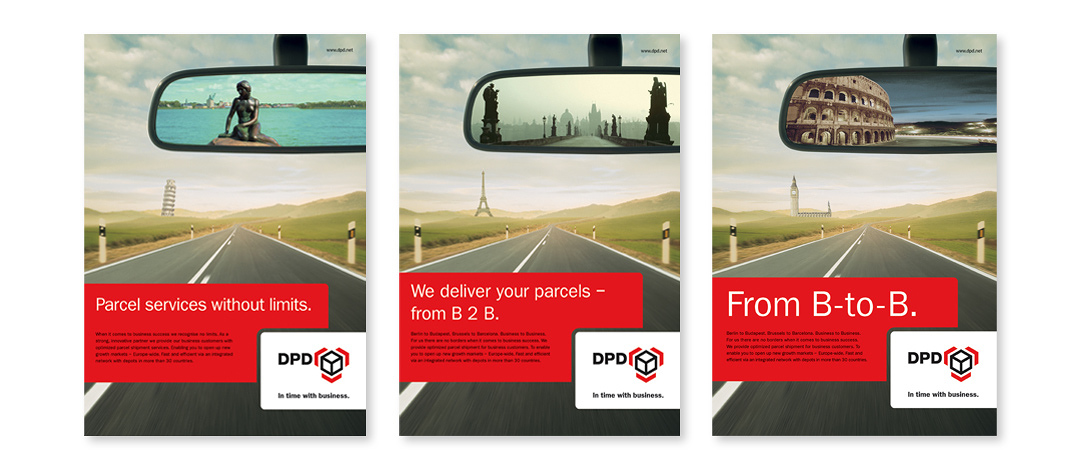 Three examples of printing ads from the b-to-b campaign for DPD in 2004