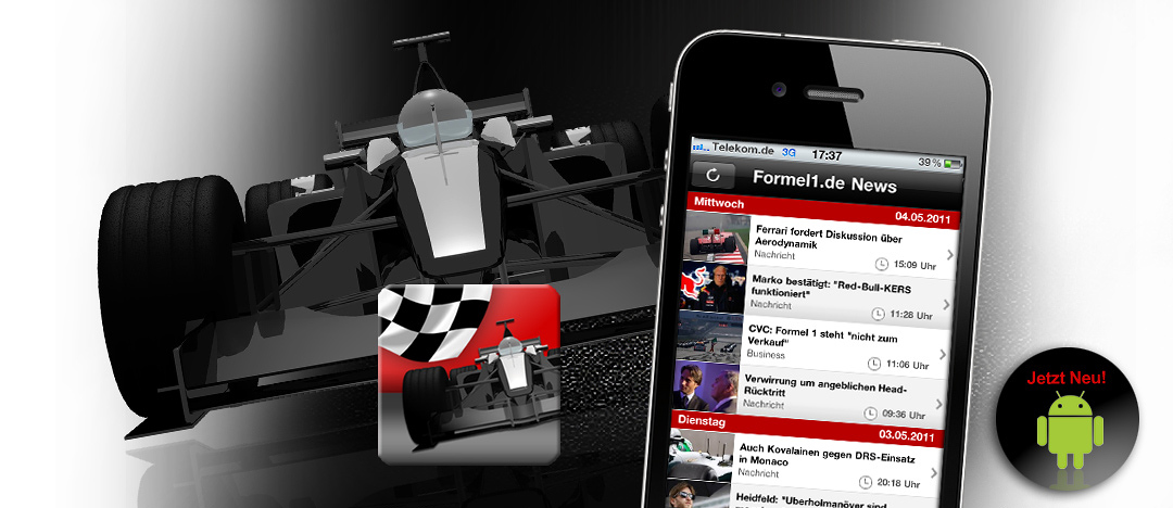 Screenshot of the popular formel1.de app for android smartphones, created by .PEPPERZAK.