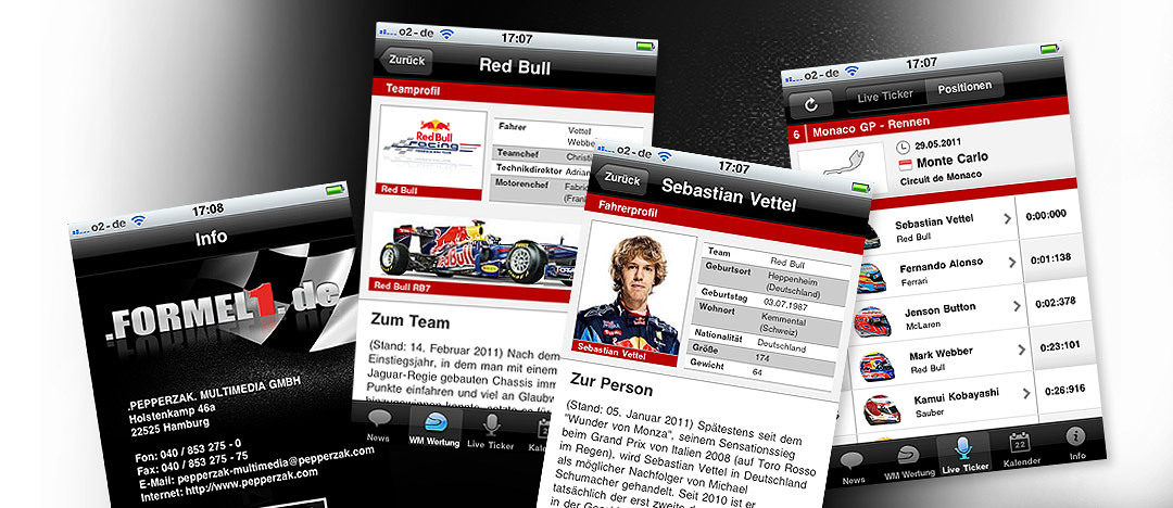 Different examples of the formel1.de app for mobile devices that was downloaded more than 120.000 times in 2011