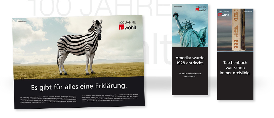 Large-scale poster and banner-examples of the print campaign for the 100 years anniversary of Rowohlt