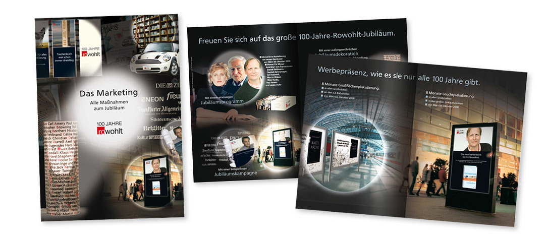 Broschure for bookstores, showing some examples of the integrated communication campaign of Rowohlt