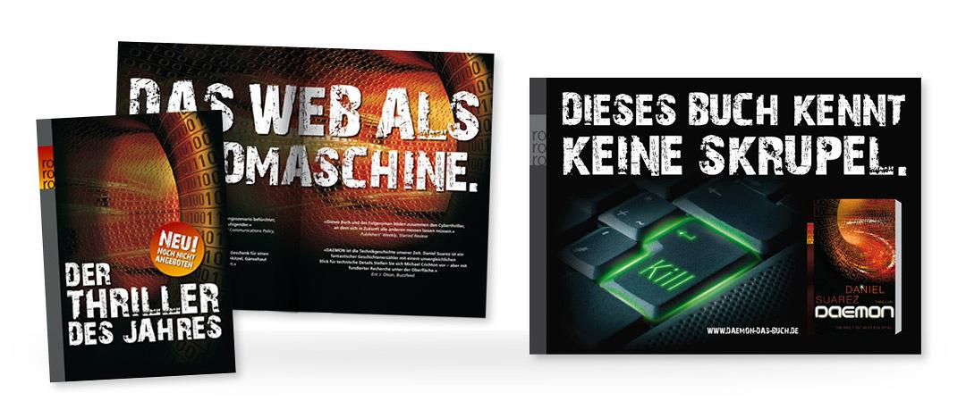 """Gestaltung von Anzeigen für den Rowohlt Verlag zum Thriller """"Daemon"""" von Daniel Suarez"""