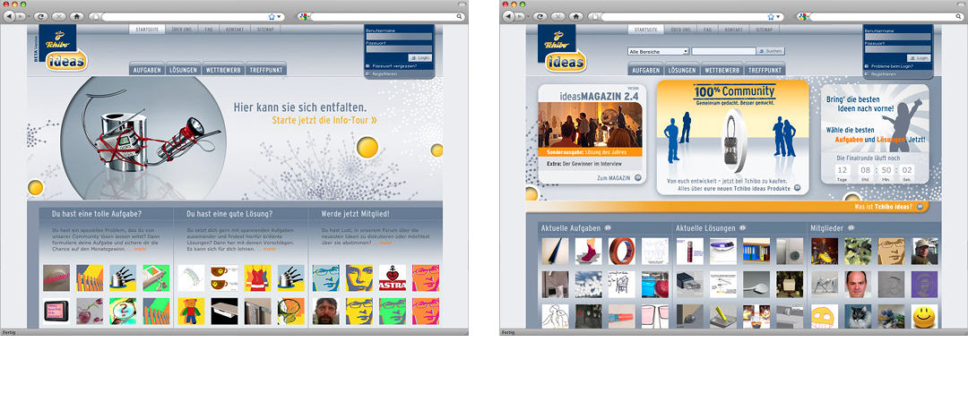 Examples of website-pages from the winning-contest Tchibo ideas on the corporate website of the Tchibo GmbH