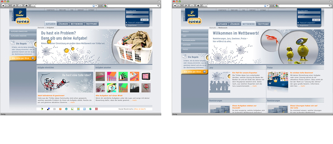 More examples of different website layouts of the community plattform, where consumers presented their ideas
