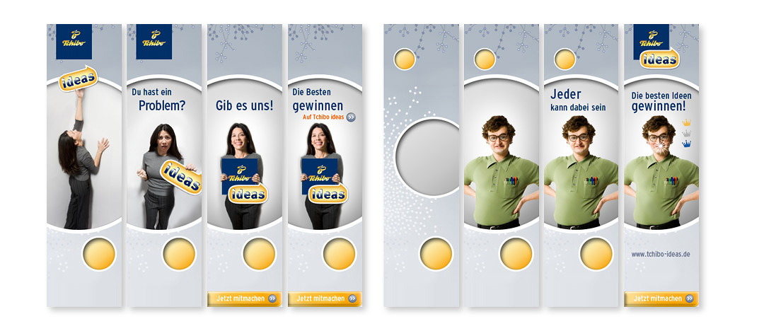 """Online banner campaign created by .PEPPERZAK. to promote the winning-contest """"Tchibo ideas"""" on the internet"""
