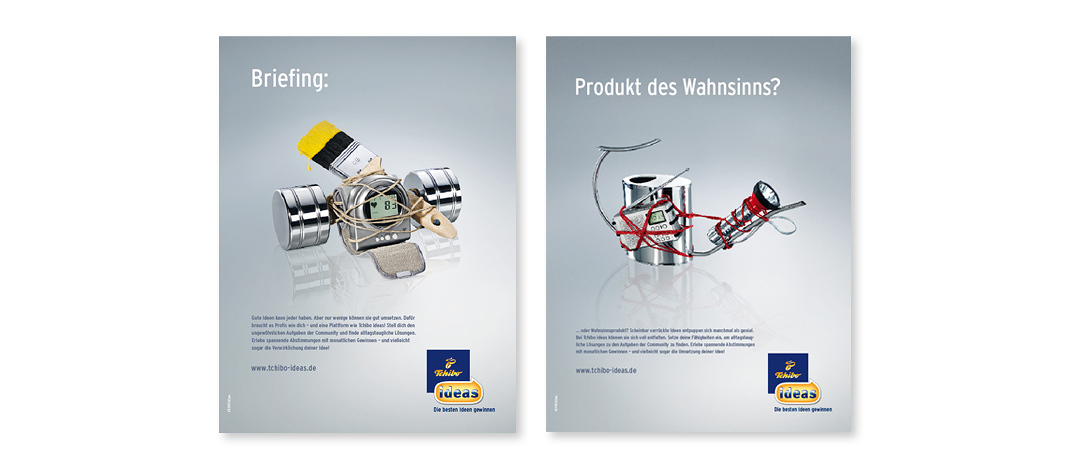 "Examples of advertising-posters for the POS, promoting ""Tchibo ideas"" in the stores in Germany"