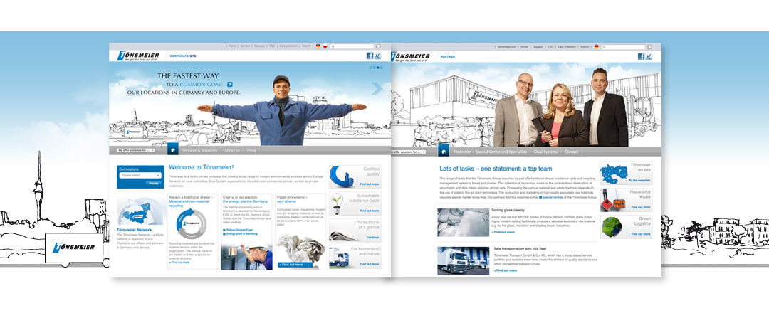 Examples of different Website-Pages, showing the Website of Tönsmeier after the relaunch in 2012