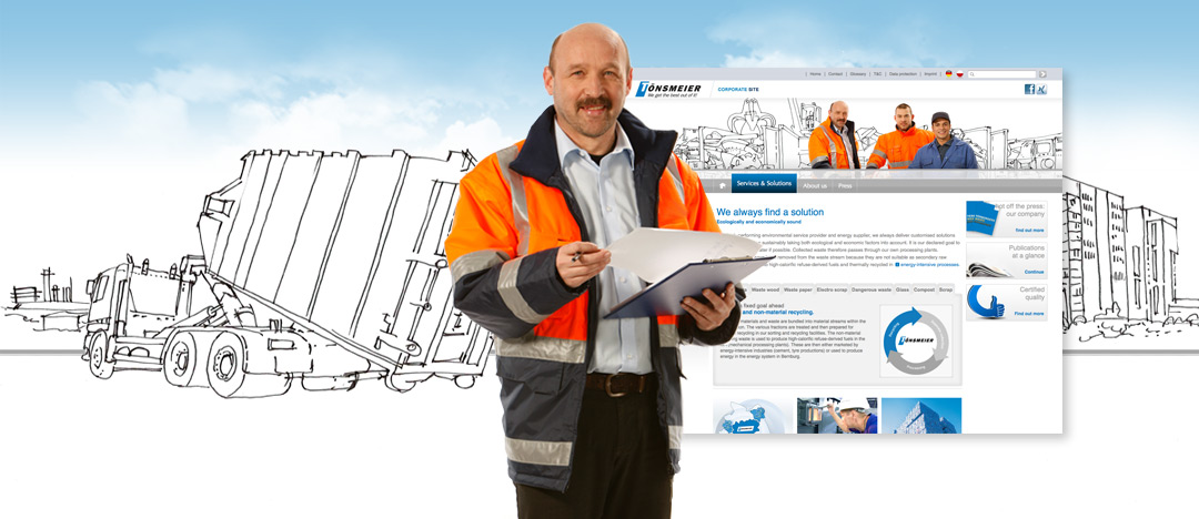 Another Tönsmeier employee in front of an illustration, representing one of the new Website-Pages created by .PEPPERZAK.