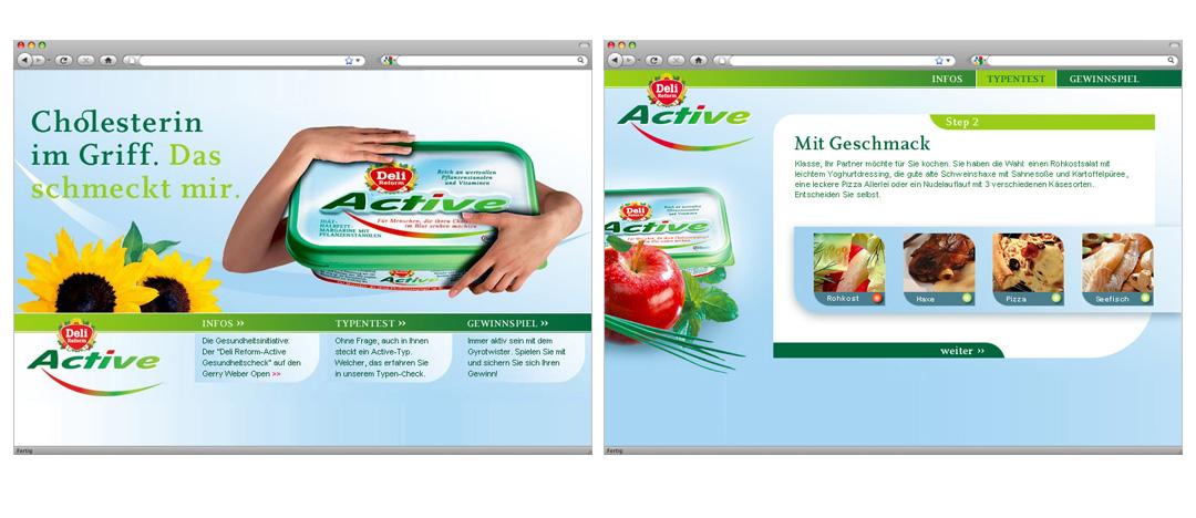 Homepage und Detailseite der Aktions-Microsite für Deli Reform Active zur Produkteinführung 2003