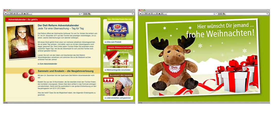 Gewinnspielbeschreibung Deli Reform Adventskalender und E-Card mit Weihnachtsmotiv