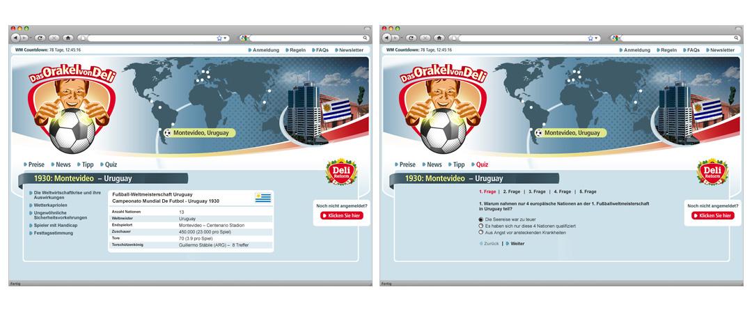 """Screenshots der Unterseiten mit Gewinnspiel-Fragen und Tipps zur LEH-Promotion """"Das Orakel von Deli"""" von Deli"""