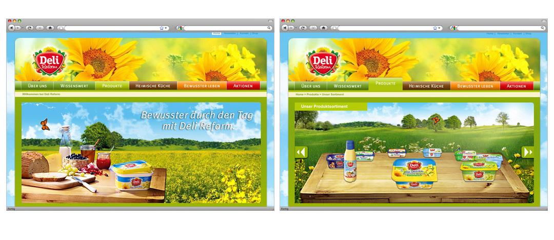 Die neue Bühne der Deli Reform Homepage nach dem Website-Relaunch sowie Screenshot der Produktübersichtsseite mit interaktiver Produktauswahl