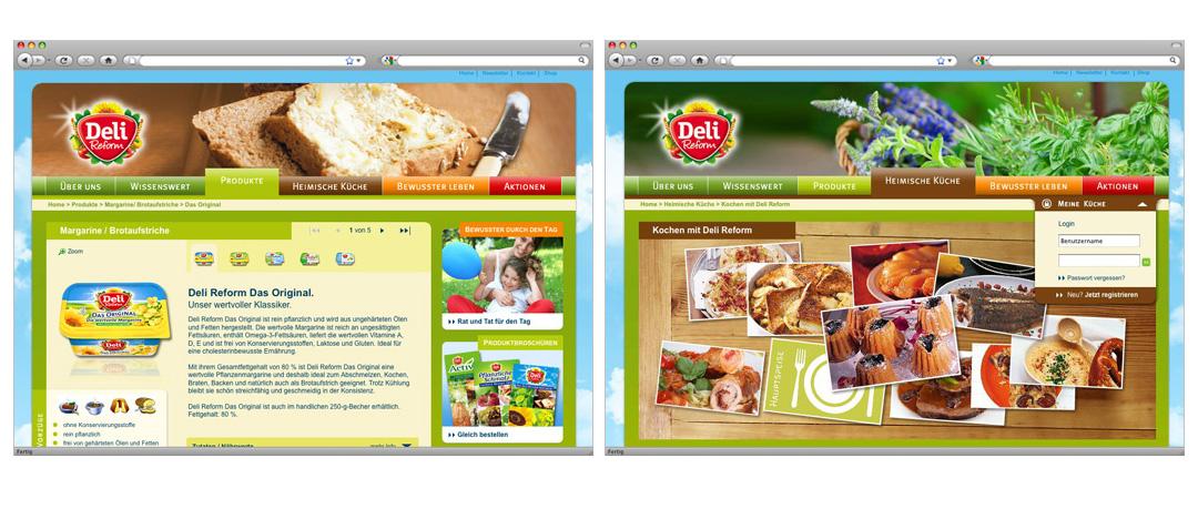 Produkt-Detailseite Deli Reform Das Original und Bühne der Unterseite Heimische Küche mit interaktiver Auswahl der einzelnen Rezepte