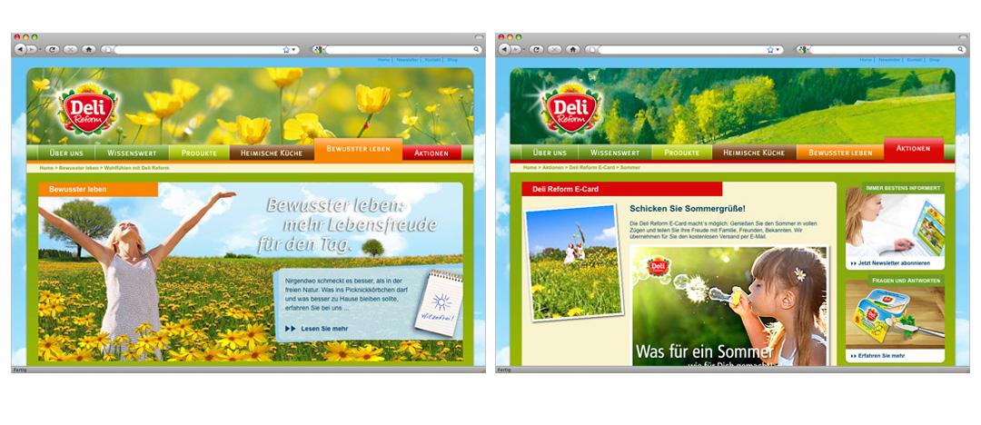 Rezept-Detailseite mit Zubereitungshinweisen und Produktempfehlungen sowie Screenshot der Unterseite kulinarische Regionen mit weiteren Rezepten und Klassikern der Deutschen Küche