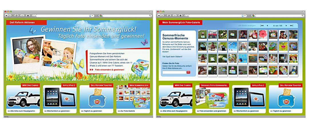 Bühnenbild und Galerie-Seite der Online-Aktion Sommerglück von Deli Reform