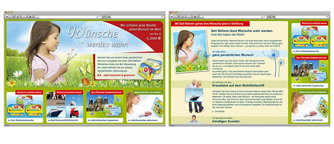 Bühnenbild und Gewinnspiel-Detailseite der Online-Aktion Wünsche werden wahr auf der Deli Reform Website