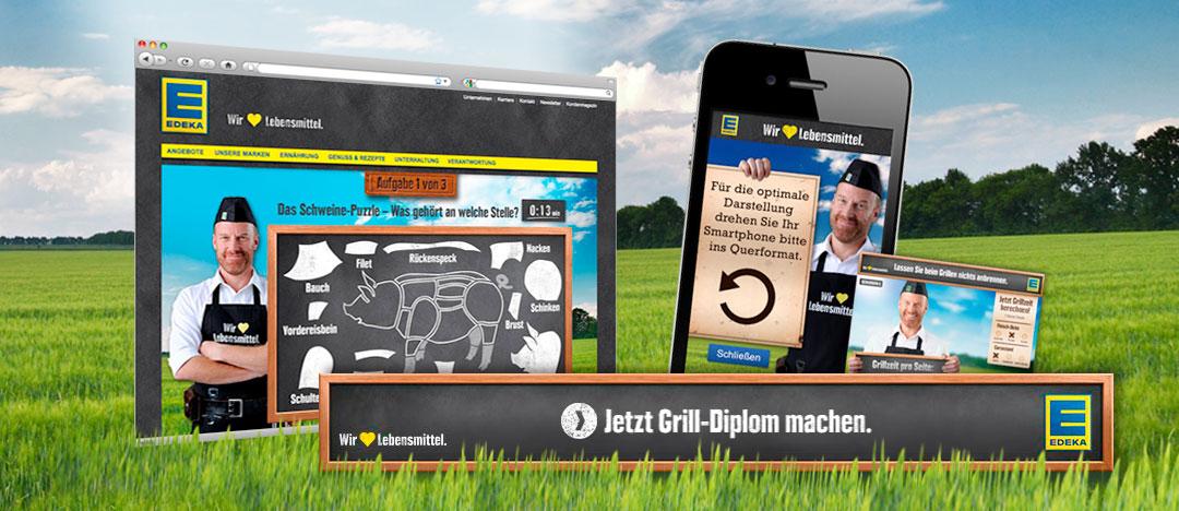 Online-Banner und weitere Beispiele des Gewinnspiel-Tools von EDEKA Grill Diplom aus dem Jahr 2012 von der EDEKA Website