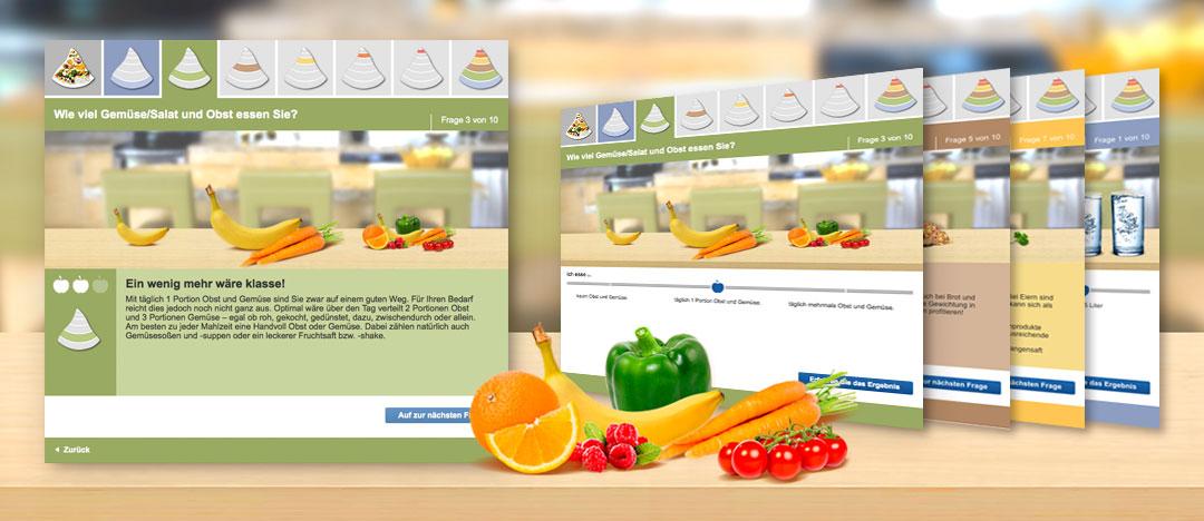 Online-Tools auf der EDEKA Website rund um das Thema gesunde und ausgewogene Ernährung mit verschiedenen Screen-Designs