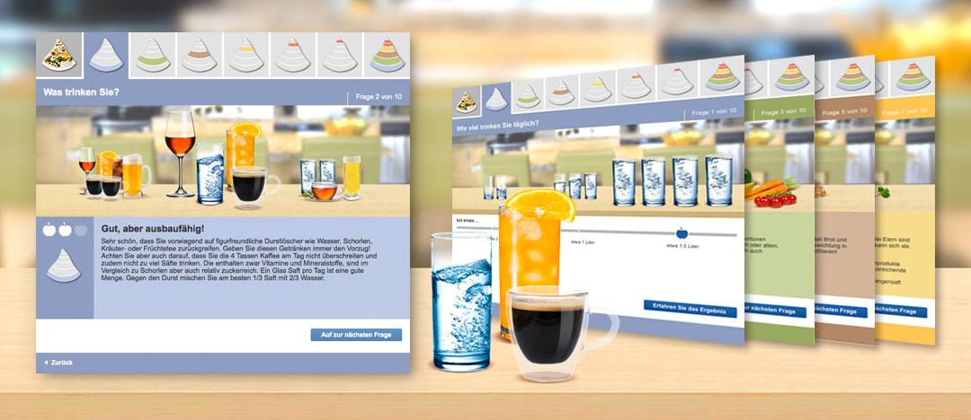 Der interaktive Tool Ernährungs-Check von der EDEKA Website in verschiedenen Bildbeispielen dargestellt