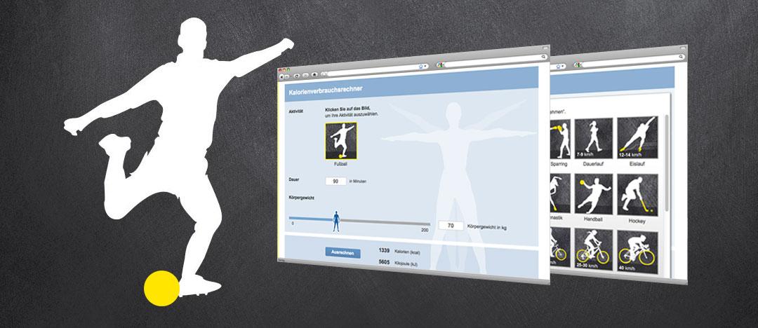 Grafische Darstellung eines Fußballers und Screenshots des Ernährungs-Tools Kalorienbedarfsrechner von der EDEKA Website zum Thema Ernährungsberatung