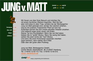 Screenshot der ersten Website der Werbeagentur Jung von Matt aus dem Jahr 1995