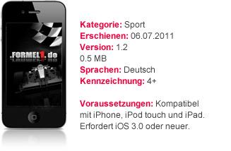 Die beliebte Formel1.de App mit Details zur iPhone Ap