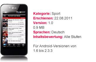 Die erfolgreiche Formel1.de App mit Details zur Android-Version