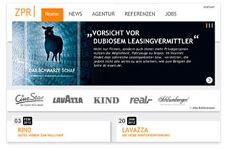 Internetauftritt Agentur für Presse- und Öffentlichkeitsarbeit ZPR