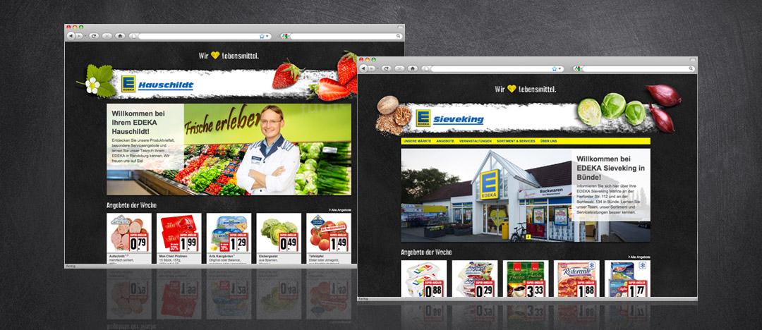 Homepage Beispiele der neu entwickelten Händler-Websites für EDEKA Einzelhändler mit Bühnenbild und Header aus dem Jahr 2014