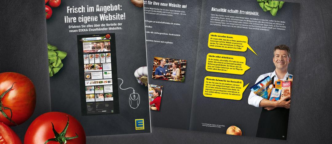 Broschüre mit Informationen für Händler zu den verschiedenen Seitentypen der EDEKA Einzelhändler-Websites, die auf einer Messe an Interessenten ausgegeben wurde