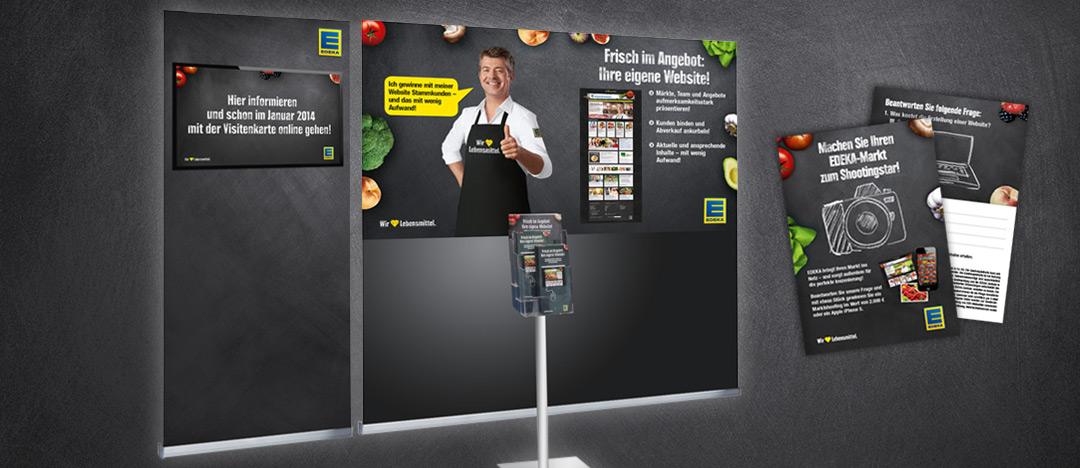 Messeausstattung Messewand, Info-Screen, Aufsteller, Flyer und Gewinnspiel-Broschüre im Rahmen des Relaunches der EDEKA Händler Websites